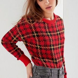 Urban Outfitters Andi Intarsia Red Plaid sweater